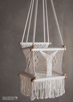 Macrame hanging chair comfy design cream color cotton for Diy macrame baby swing