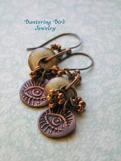 Hazel Eyes Dangle Copper Earrings with Sea Green Ceramic Beads from Elaine Ray
