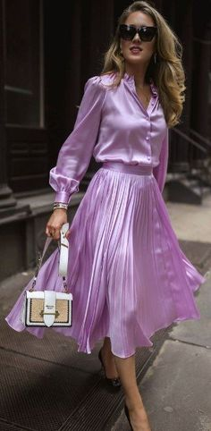 The Resources We Use, Love and Think You Should Know About // Lilac silk button-up blouse with puff shoulders and blouson sleeves + matching lilac pleated satin midi-skirt, cat-eye acetate sunglasses, Estilo Lady Like, Look Fashion, Womens Fashion, Fall Fashion, Nyc Fashion, French Fashion, Curvy Fashion, Fashion Rings, Street Fashion