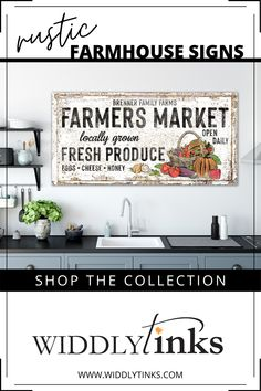 Add a touch of vintage farmhouse charm to your walls with this rustic farmers market sign featuring your last name. A charming sign for lovers of farmhouse style decor, this lightweight, easy to hang large canvas wall art is a delightful addition to your kitchen, dining room or living room. #canvasart #vintagefarmhouse #farmhousedecor #farmhousesign #personalizedwallart Wall Decor Design, Unique Wall Decor, Rustic Wall Decor, Rustic Signs, Entryway Decor, Modern Farmhouse Decor, Farmhouse Style Decorating, Vintage Farmhouse, Large Canvas Wall Art