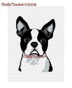Chella Crochet Pattern Boston Terrier Dog  Afghan by chellacrochet, $3.75