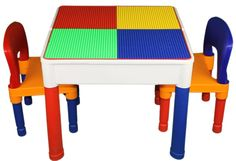 3 in 1 Kids Construction Table Lego & Duplo Compatible w/ 2 Chairs (VIEW ALL PHOTOS)