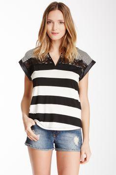 Lace Stripe V-Neck Blouse