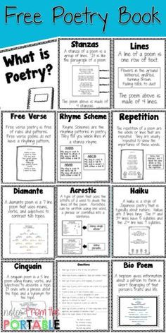 Free poetry book and posters to help you students learn important terms. Great for learning centers.