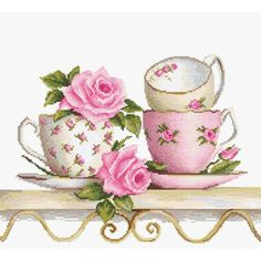Cross Stitch Kit Roses and tea cups DIY Cross stitch Set Hand Embroidery Handmade gift Wall Decor Home decor Idea Gift – hand embroidery Cross Stitch Rose, Modern Cross Stitch, Cross Stitch Designs, Cross Stitch Patterns, Cross Stitch Embroidery, Embroidery Patterns, Hand Embroidery, Alphonse Mucha, Needlepoint Kits