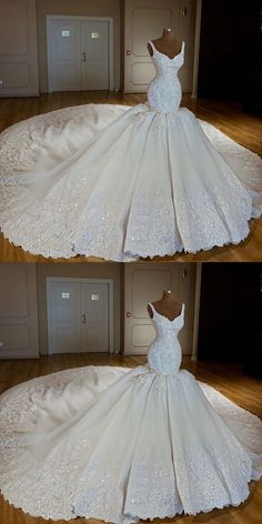 Vintage V-neck Royal Train Satin Mermaid Wedding Dresses Lace Embroidery - Bridal Gowns Western Wedding Dresses, Princess Wedding Dresses, Best Wedding Dresses, Perfect Wedding Dress, Bridal Dresses, Wedding Gowns, Arabic Wedding Dresses, Cinderella Wedding, Dresses Dresses