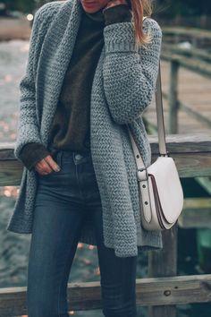 Chunky knit and coach bag - Jess Kirby