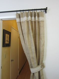 Cortina de arpillera simple Shabby Chic cortina por pillowpuff