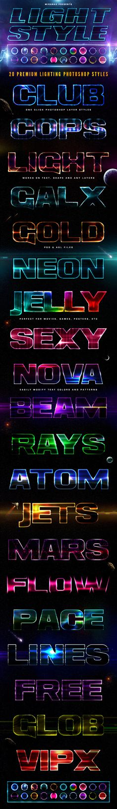 20 Lighting PSD Text Effects — Layered PSD #steel #galaxy • Available here → https://graphicriver.net/item/20-lighting-psd-text-effects/7592251?ref=pxcr