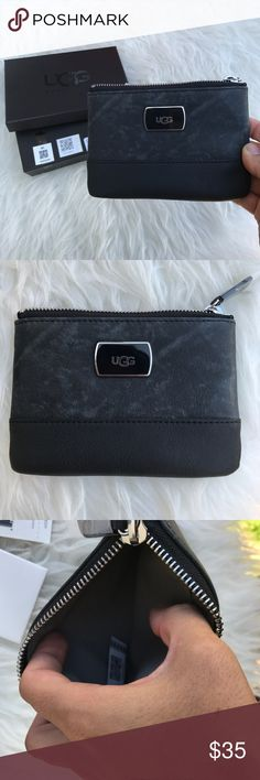 """UGG Classic Leather Trim Mini Wallet wash black NW UGG Classic Leather Trim Mini Wallet wash black NW 100% AUTHENTIC details :zip top closure *jnterior slip pocket *3card slots *leather trim * approx 6"""" L x 4"""" H x 0.5 """" W *imported item#unze UGG Bags Wallets"""