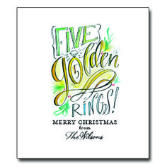 """Fifth Day of Christmas Tea Towel Approx. 20""""W x 30""""L. Up to 20 characters for personalization. 100% Cotton. Message: """"Five Golden Rings - Merry Christmas from ___________"""""""
