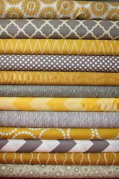 custom fabric bundle    You will get a FQ of each print    circle yellow  medallion gray  woven yellow  small cotton dots gray  leafy stripe