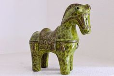 One of the rarest colors to find a 1950s Aldo Londi for Bitossi horse in, is this lime green. This example has a wonderful mottled glaze tha...