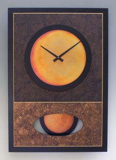 Brown Walid Pendulum Clock by Leonie Lacouette. The background of this rectangular wooden wall clock is hand painted in browns, gold and black, with etched grooves accented in gold. The face and pendulum are hand-patinated copper with painted wooden borders. The pendulum swings behind an oval cutout in the background. Signed on back. Uses 2 AA batteries (included). All metal coloring is done by hand and will vary from piece to piece. Ready to hang.
