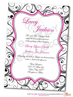 hot pink & black invite
