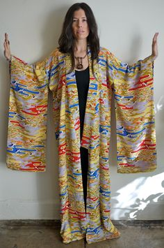 Vintage Flying Crane Rayon Kimono Robe by PrismOfThreads on Etsy, $120.00