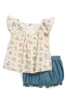 Ralph Lauren Floral Tunic & Denim Bloomers (Baby Girls)   Nordstrom