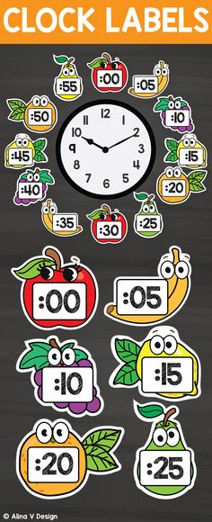 Printable clock labels for your classroom decor that will make telling time much easier and fun for your students. Each fruit label includes numbers and a cute design. You just have to use the cut outs and place them around your classroom watches.