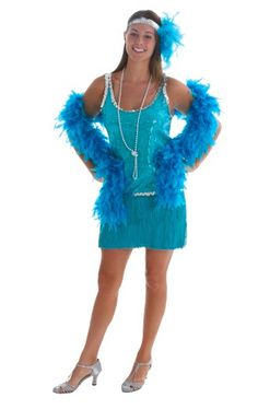 Flapper costume in Teal or Turquoise sequence dress.  Sexy fringe with a pearl necklace.  http://hearthomeholidays.com/flapper-costumes-1920s-costumes/