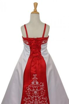 Red and white Flower girl dress the back