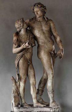 Dionysus and Satyr, marble statue - from Roman period, circa 120-140 AD - at the Uffizi Gallery, Florence
