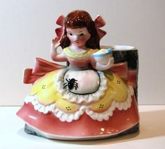 VINTAGE NAPCO JAPAN CERAMIC LITTLE MISS MUFFET PLANTER A2201D