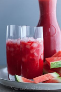 Watermelon Raspberry Lemonade Recipe ~ Says: Hydrating watermelon and coconut water meet up with tangy lemons and tart raspberries in this refreshing and thirst-quenching watermelon, raspberry lemonade.