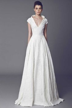 V-Neck A-Line Wedding Dress  in Silk Ziboline. Bridal Gown Style Number:33120718