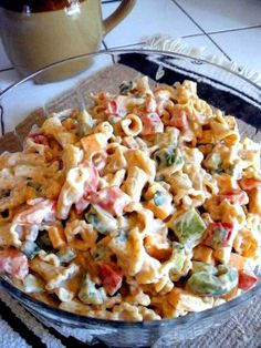 Fajita Pasta Salad - guessing you can sub light mayo and Greek yogurt instead of sour cream and it would still be delicious