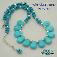 """""""Cherokee Tears"""" -  Sterling Silver and small Turquoise Nugget necklace.  SOLD"""
