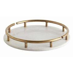 Warsaw White Marble/Antique Brass Round Tray - Arteriors   domino.com
