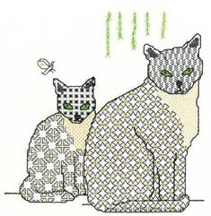 Cats - Blackwork Embroidery, patternsge.net/free-blackwork-patterns couldn't find where the free pattern was