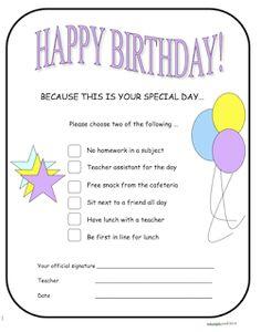 photo of Back to School Happy Birthday, free, pdf, Ruth S., teacherspayteachers.com