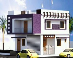 2 Storey House Design, Duplex House Design, Duplex House Plans, Unique House Design, House Front Design, Indian House Plans, House Elevation, Front Elevation, Indian Homes