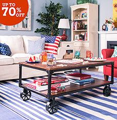 Get ready to relax with this selection of comfort-focused living room furniture. Tufted loveseats and bonded leather recliners offer a plush place to relax, while classic TV stands and console tables corral DVDs, keys, and more. Pillows and ottomans in bright shades of red, white, and blue offer classic American charm year-round.