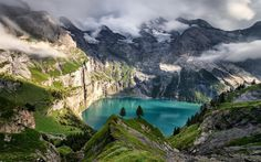 Download wallpapers glacial lake, mountain landscape, rocks, mountain lake, clouds, mountains