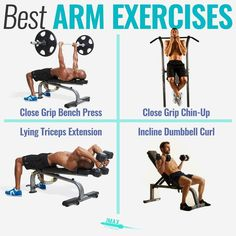 BEST ARM EXERCISES - If you want to get big arms then you need to focus on getting stronger in compound exercises (most of your effort should be here). - Some of the best compound exercises are close grip bench press close grip chin-ups rows and overhead Weight Training Programs, Strength Training Program, Compound Exercises, Arm Exercises, Stomach Exercises, Killer Arm Workouts, Chest Routine, Get Bigger Arms, Close Grip Bench Press
