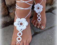 Zapatos de novia crochet sandalias Barefoot Beach por craftbyaga