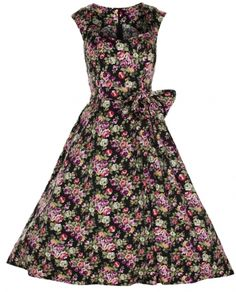 1950's Vintage Floral Swing Dress. Hepburn style Dress. Vintage Style Floral Classic Dress. Available in four different colour prints. Full circle skirt with sash Belt. UK 8-26. #Vintage #fashion #style #Swing #floral #plussize #Dresses #Bridesmaid