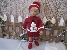 """A New Unique Hand Knitted Cuddley Christmas Outfit For 16"""" - 17"""" """"Sasha"""" Dolls."""