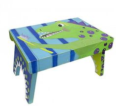 Painted Dinosaur with Toothbrush Stool -- Turn a wooden stool into a inspirational accent for a child's bathroom.