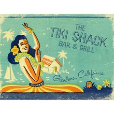 Tropically inspired vintage art to adorn your tiki bar, this custom sign adds a bit of retro charm and fun! The colors of the beach, along with two lines of text in place of all content, create the. Vintage Tiki, Vintage Surf, Vintage Signs, Vintage Hawaii, Vintage Images, Tiki Bar Signs, Tiki Hut, Tiki Tiki, Bar Coasters