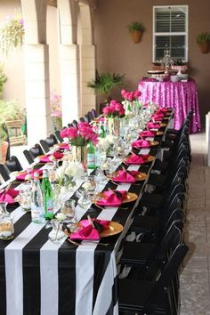Black & white stripes, gold & hot pink accents wedding table / http://www.himisspuff.com/black-and-white-sassy-stripes-wedding-ideas/2/