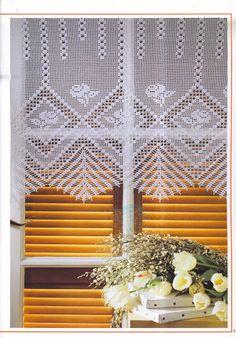 Crochet Knitting Handicraft: blinds Thread Crochet, Filet Crochet, Irish Crochet, Crochet Motif, Crochet Doilies, Crochet Flowers, Crochet Stitches, Crochet Patterns, Crochet Curtains