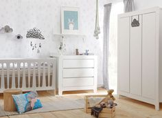 3 piece #nursery #furniture set. Including modern cot bed, chest of drawers and large wardrobe.