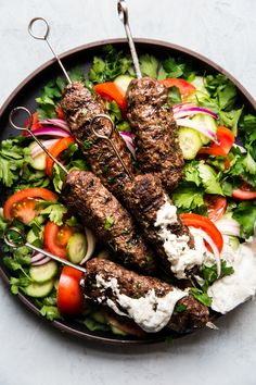 Big, bold herbs and spices make these beef kofta kebabs with tzatziki perfect for a super satisfying centerpiece for a Mediterranean-inspired feast. Beef Kofta Recipe, Kefta Kabob Recipe, Antipasto, Kebab Recipes, Rice Recipes, Cooking Recipes, Healthy Recipes, Middle Eastern Recipes, Greek Recipes