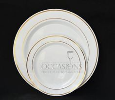 Bulk Disposable Plastic Plates - Masterpiece Style- White with Gold rim. 9\u0027 & Clear 9\