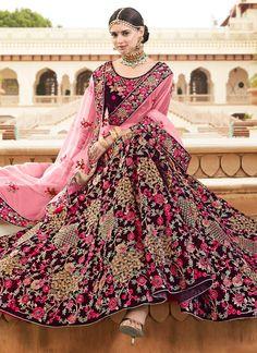 Dark Maroon Embroidered A Line Lehenga Sabyasachi Lehenga Bridal, Indian Wedding Lehenga, Indian Lehenga, Anarkali, Indian Bridal Outfits, Indian Designer Outfits, Indian Dresses, Bridal Dresses, Wedding Dress