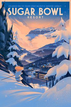 Illustration / Character design / Animation / Sugar Bowl Resort 75th Anniversary Poster - Brian Miller