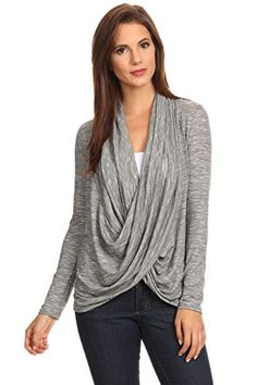 Womens Long Sleeve Criss Cross Cardigan Made in USA METALLIC DARK GREY Large * Want additional info? Click on the image.